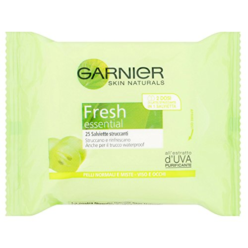 Garnier - Toallitas desmaquillantes frescas para pieles normales o mixtas, 25unidades