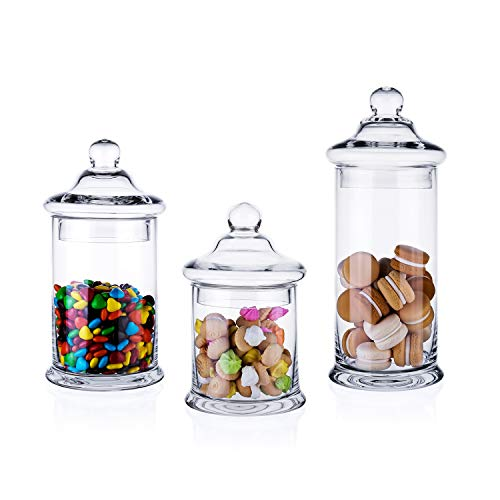 Diamond Star Set of 3 Clear Glass Apothecary Jars Elegant Storage Jar with Lid, Decorative Wedding Candy Organizer Canisters Home Decor Centerpieces (H: 11', 8.5', 7.5' D: 5')