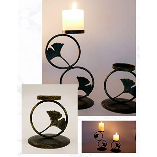 Fineday Geometric Iron Light Candle Holder Candlestick Creative Lantern Indoor Decor, Home Decor for Christmas Day (C)