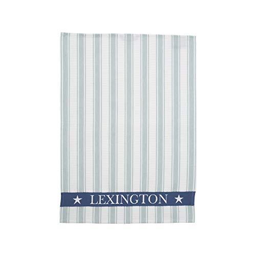 Lexington - Geschirrtuch, Küchentuch, Trockentuch - gestreift Schriftzug - Baumwolle - blau/weiß - 50x70 cm