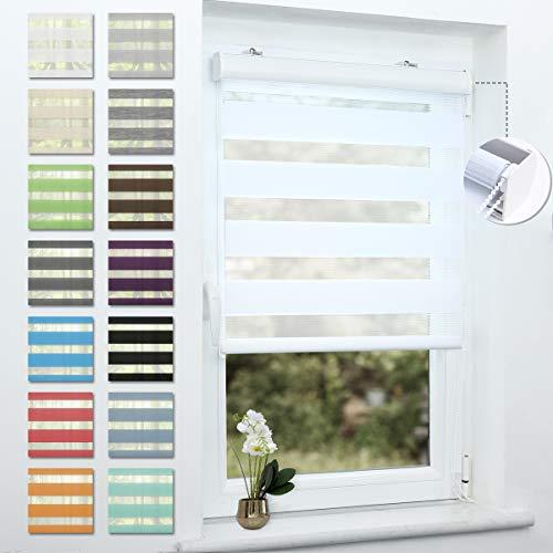 Doppelrollo mit Kassette klemmfix Duo Rollo ohne Bohren, Rollos für Fenster und Tür,lichtdurchlässig und Sonnenschutz, Weiß, 140x130cm
