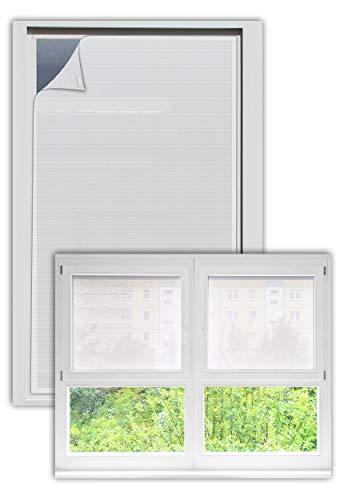 EFIXS Sonnenschutz für Außen ohne Bohren - Farbe: Weiss - Breite bis 80 cm, Höhe bis 120cm - Montage: Selbstklebender Druckverschluss - SCHEIBENFIXS auf Maß