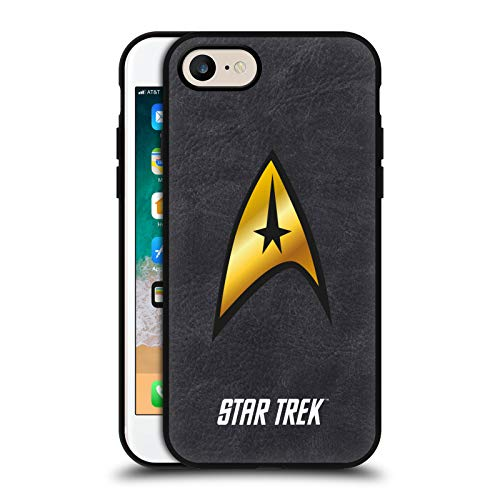 Head Case Designs Officially Licensed Star Trek The Original Series Logo Black Leather Back Case Cover Compatible with Apple iPhone 7 / iPhone 8 / iPhone SE 2020