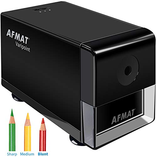 AFMAT Electric Pencil Sharpener, Heavy Duty Pencil Sharpener, Colored Pencils Sharpener, Pencil Sharpener for No.2/Colored Pencils, Automatic Pencil Sharpener for Home/Office/School, Black