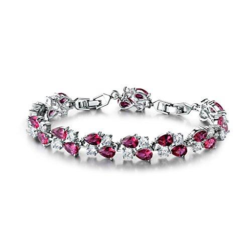 Gulicx Braccialetti da donna con cristalli di zircone, colore argento e rosso, alla moda, lussuosi, per feste nuziali
