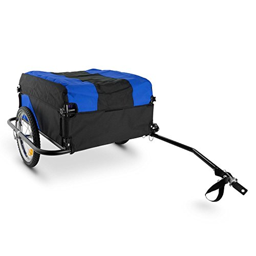 DuraMaxx Mountee Bicycle Trailer - Carrier, Stable, Powder Coated, Easy Transport, Robust, 130 L Cargo Space, 60 Kg, Steel Tube, Nylon Upholstery, Folds Up for Compact Storage - Blue/Black