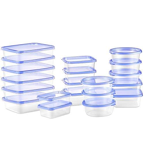 Deik Recipientes para Alimentos con Tapa, Conjunto Apilable de 20 Piezas, Sin BPA, Certificado LFGB, Apta para Lavavajillas y Microondas, Tamaño Diverso