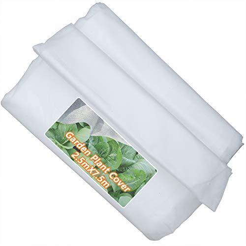 Tela antiheladas para plantas, 250cm x 750cm tela no tejida, reutilizable, cubierta flotante para plantas de jardín y verduras, blanco
