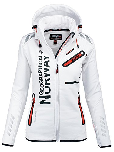 Geographical Norway Damen Softshell Funktions Outdoor Regen Jacke Sport [GeNo-24-Weiss-Gr.XL]