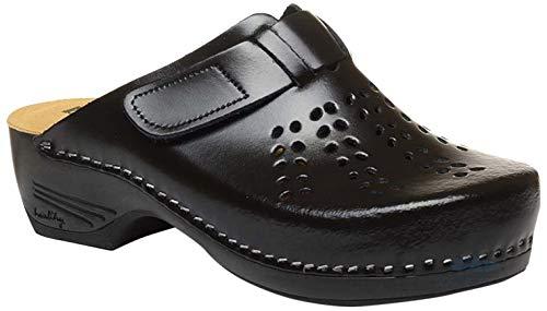 LEON PU161 Zuecos Zapatos Zapatillas de Cuero para Mujer, Negro, EU 37