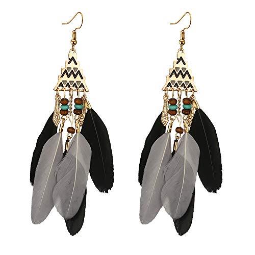 Andouy Frauen-bosnische Perle-Legierung Feder-Temperament-lange Art-Ohrringe(Schwarz)