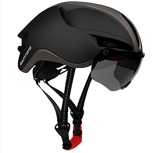 iWUNTONG Casco de Bicicleta,Casco Certificado CE con Visera Solar Extraíble,Casco de bicicleta con luz USB recargable,Casco de Bicicleta para Adultos Casco de Bicicleta Montaña Hombres Mujeres 57-61cm