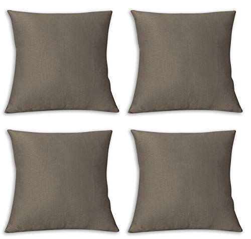 Copricuscini Fodere per Cuscini Quadrate, Impermeabile e Antimacchia, Decorazione per Divano Casa, 40x40 cm marrone chiaro pacco da 4