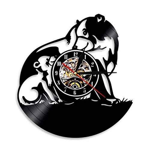 LWXJK La Familia De Oso Arte De La Pared Decoración del Hogar Reloj De Pared De Mama Oso Y El Osito De Vida Silvestre De Discos De Vinilo De Pared Reloj De Animales De Regalo para Los Niños