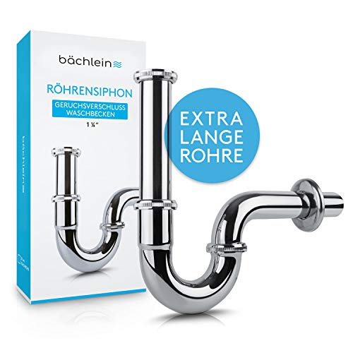 Bächlein Universal Röhrensiphon [extra lang] für Waschbecken & Waschtisch - Ablaufgarnitur, Chrom Siphon inkl. Gummimanschette für Wandanschluss - Geruchsverschluss, Abflussgarnitur