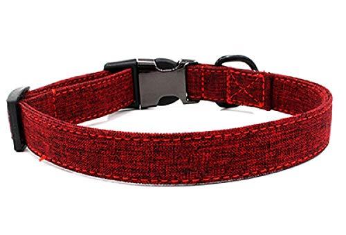 Collares de Perro a Cuadros Identificación Personalizada Nylon Pet Collar de Cuero de Gato con Nombre Grabado Personalizado Ajustable para pequeño Mediano Grande-Red_M