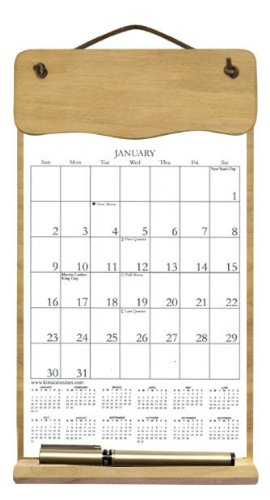 Wooden Refillable Calendar Holder Filled with a 2021 Calendar and Includes an Order Form Page for 2022-CURVED TOP