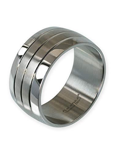 Fly Style Bandring aus Edelstahl Ring für Damen und Herren | 12 mm breit, Ring Grösse:20.0 mm