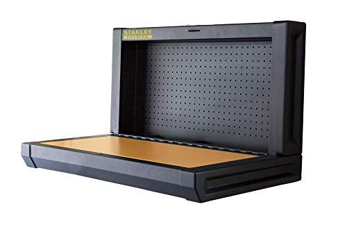 Stanley FMHT81528-1 Opvouwbare werkbank (eenvoudige wandmontage, ruimtebesparend, tot 100 kg, ideaal voor garage, 90 x 45 cm, met gatenwand voor gereedschapsophanging