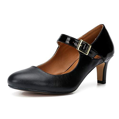 LMZX Zapatos de salón clásicos de tacón Alto con Punta Puntiaguda para Mujer, Zapatos cómodos de tacón bajo de Aguja, Zapatos de Noche de Oficina a la Moda,Negro,37