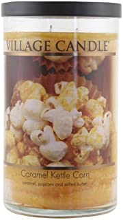 Village Candle 1-Piece 24 oz 889 g Decor Pillar Candle Jar, Caramel Kettle Corn