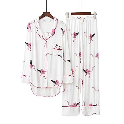 Dames Pyjama Set,Dames Modale Revers Pyjama Flamingo Print Witte Winter Warme Mode Gebreide Loungewear Sexy Dames Pyjama 2 Delige Set Voor Kerstcadeau, S