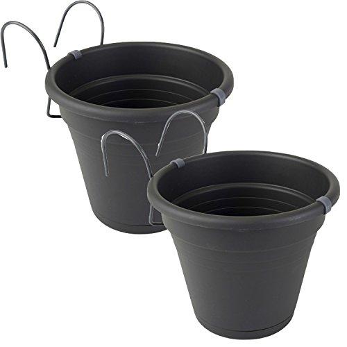 K7plus 2er Set Hängetopf anthrazit Blumentopf Kräutertopf aus Kunststoff für Balkon, Zaun und Garten