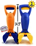 Matty's Toy Stop 14.5' Plastic Sand Grabber Claw Scoops for Sand & Beach (Blue/Yellow & Orange/Blue) Gift Set Bundle - 2 Pack