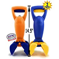 """Matty's Toy Stop 14.5"""" Plastic Sand Grabber Claw Scoops for Sand & Beach (Blue/Yellow & Orange/Blue) Gift Set Bundle - 2 Pack"""