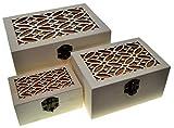 3 scatole rettangolari Scatole di nidificazione Cassa del tesoro (Confezione da 3) Scatola del tesoro in legno Vintage ▾ Deposito decorativo Artigianato in legno Regalo Scatole di legno