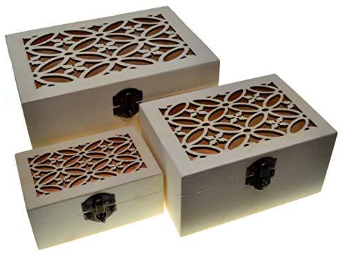 JB3 3 cajas rectangulares Cajas nido Cofre del tesoro (3 paquetes) Caja del tesoro de madera Clásico Almacenamiento decorativo Artesanía de madera Regalo Cajas de madera Caja de joyería Regalo