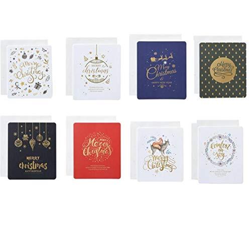 LAVALINK 8pcs Weihnachten Grußkarten Gold-Bronzing Kreative Karten Postkarten Geschenkkarte Weihnachten Neujahrsgrußkarten