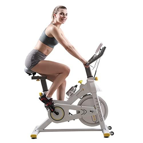 JiuErDP Bicicleta Spinning Ciclo Indoor, Silenciosa, Resistencia Regulable, Bici Estatica Ejercicio En Casa, Altura De Ajustable, con Monitor De Frecuencia Cardíaca Y Pantalla LCD
