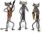 CHHD Statue Sculture Sculture,Articolo per la Decorazione della casa,Arte,Collezione per Ufficio,Scultura in Metallo Suona la Chitarra/Sassofono/Gatto Che Canta Decorazioni per la casa