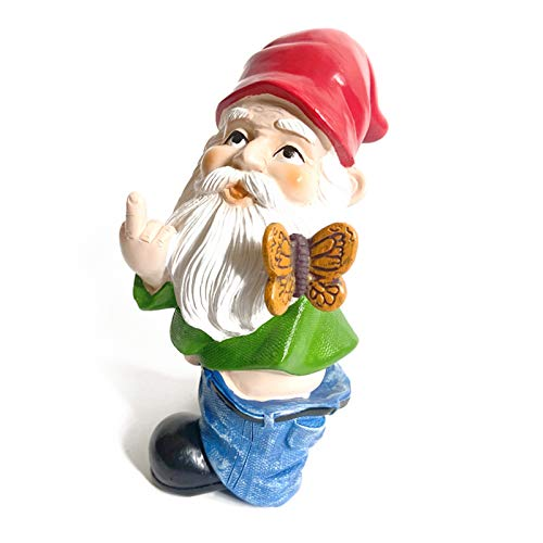 VASTAIR Garden Gnome Statue, 6.7' Tall Polyresin Christmas Ornaments Art Crafts for Lawn, Indoor and Outdoor Decorations(Butterfly Middle Finger)