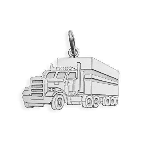 LKW Truck Lastwagen Anhänger Sterling Silber 925 (Art.209023) Gratis Express Gravur