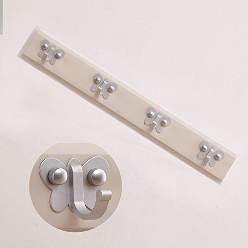 Couleur Teck Blanc Tige De Suspension En Bois Porte-manteau Bowknot Chambre Cintre Mural Cintres Patères Murales (Couleur : 2, taille : 48.5 * 6 * 1.5cm)