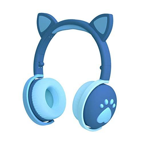 Auriculares para Colocar sobre La Oreja, Bluetooth 5.0, Estéreo De Alta Fidelidad, Auriculares Estéreo Inalámbricos Plegables, Auriculares con Micrófono Incorporado (Color : Blue)