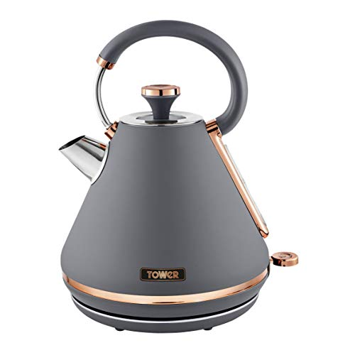 Tower T10044RGG Cavaletto 1.7 Litre Pyramid Kettle with Rapid Boil, Detachable Filter, Stainless Steel, 3000 W, Grey and Rose Gold