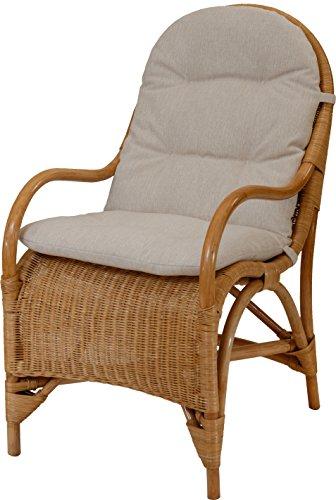 korb.outlet Bequemer Relax-Sessel inkl. Polster in der Farbe Honig, Fernsehsessel aus Natur-Rattan