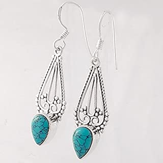 52191297e Turquoise Matrix Solid 925 Sterling Silver Earrings, Handmade Jewelry for  Women, Turquoise Earrings