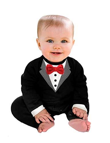 Costume Frack Bambino Vestito Carnevale Costumino Tuta Tutina Neonato Gentleman Pagliaccetto Maniche Lunghe Papillon Nero 18-24 Mesi (Taglia 95) Ottima Idea Regalo