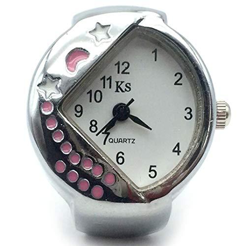 Triángulo/Sector Diamante Reloj de dedo Reloj de anillo, Moon Star Relojes de dedo ajustable multipropósito Anillo Mujer Relojes Reloj de dedo de cuarzo,Rosado