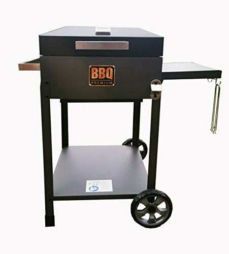 YAKOE 90010 Charcoal BBQ Grill Large Outdoor Barbeque Garden Smoker & Thermometer, Black