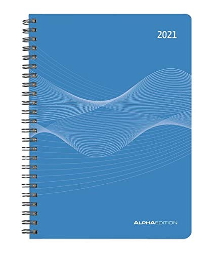 Wochenplaner PP-Einband blau 2021 - Büro-Kalender A5 - Cheftimer - Ringbindung - 1 Woche 2 Seiten - 128 Seiten - Alpha Edition