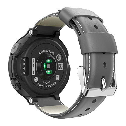 MoKo för Garmin Forerunner 235/220/230/620/630/735XT armband, klassiskt äkta läder klockarmband läderarmband erstatsband klocka band med metallspänne, Mörkgrå