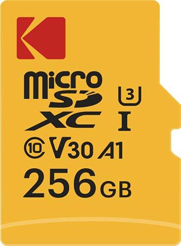 Kodak - Scheda di memoria Micro SD da 256 GB, UHS-I U3 V30 A1, microSDHC/XC, velocità di lettura 95 MB/s, velocità di scrittura massima di 85 MB/s, archiviazione aggiuntiva dispositivi multimediali