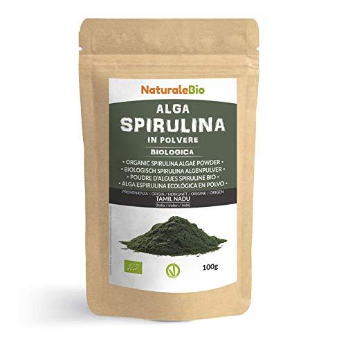 Alga Espirulina Ecológica En Polvo 100g. 100% Orgánica, Natural y Pura, Cultivada en India en Tamil Nadu. Ideal en bebidas y batidos, o recetas. Apto para vegetarianos y veganos. NATURALEBIO