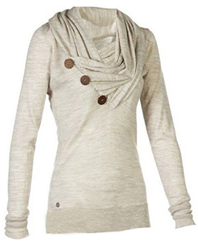 MERRYFUN Women's Sport Casual Long Sleeve Knitted Draped Button Blouse Top, G M