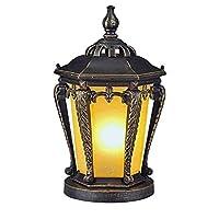 ZLMAY ヨーロッパのレトロな屋外壁ランプ、アルミダイキャスト製ランプボディブラウンガラスのランプシェードバルコニーガーデンテラスの柱のランプ